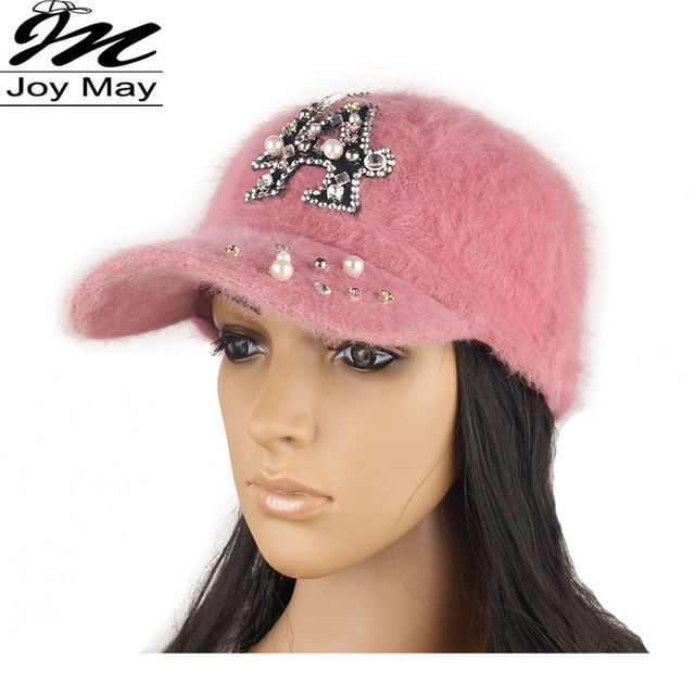 2015 New fashion winter cap diamante Rhinestone warm fur cap Leisure Fake hair baseball cap for women lady girl  W206