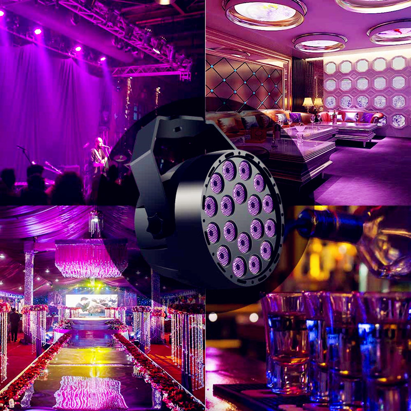 54W UV LED Stage Par Light 3x18LEDS RGB DJ Projector DMX512 Master-slave Disco Light Spotlight Lamp Remote Sound Actived Control54W UV LED Stage Par Light 3x18LEDS RGB DJ Projector DMX512 Master-slave Disco Light Spotlight Lamp Remote Sound Actived Control