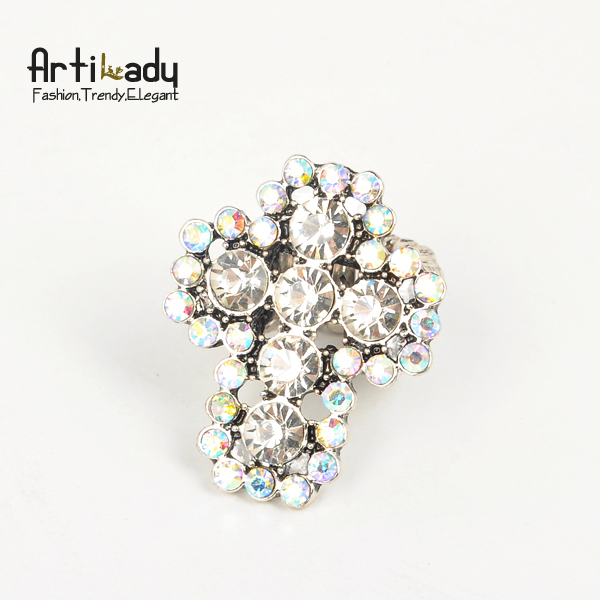 Artilady cross crystal ring antic silver crystal adjustable ring party jewelry free shipping