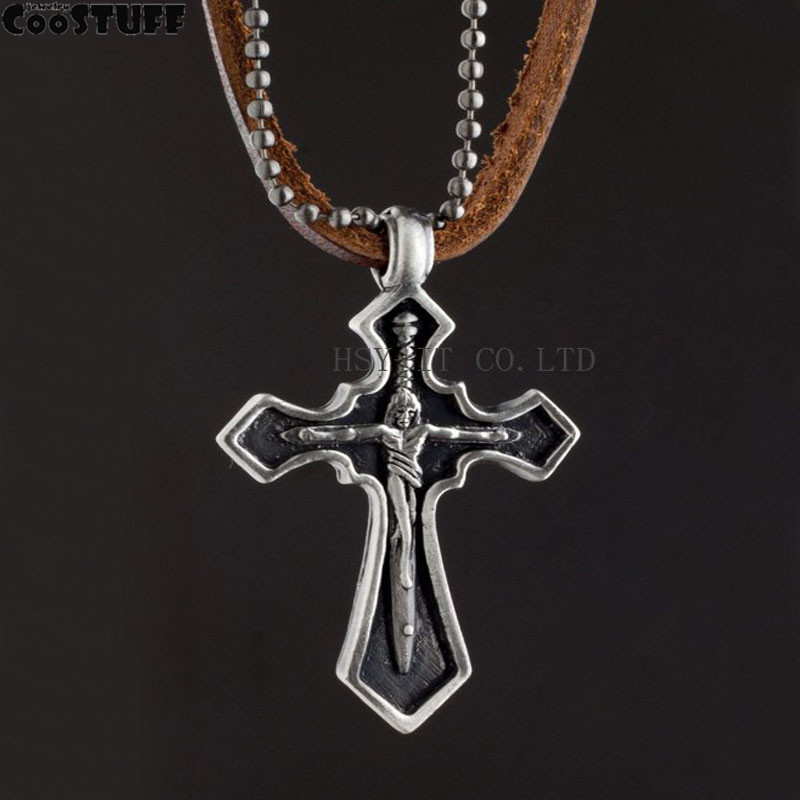 2016 men jewelry statement necklaces & pendants,punk leather rope collier collares choker colar,jesus cross necklace for women