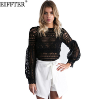 EIFFTER Lace Blouse Shirt Women Top New Autumn Alegant Long Lantern Sleeve O Neck Ruffles Hollow