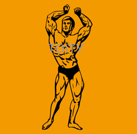 Bodybuilding Wall Sticker GYM Sport Muscles Vinyl Decal Home Room Decor Art Mural H143cm x W57cm/56.4 x 22.5