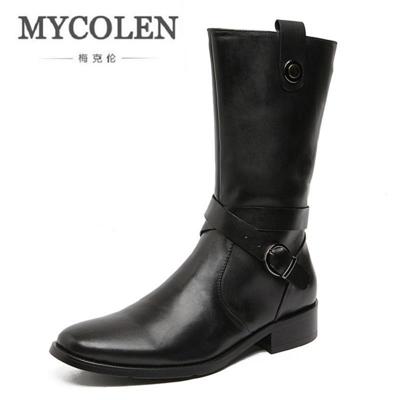 MYCOLEN Brand 2017 Men Winter Boots Shoes Cowhide Comfortable Man Snow Boots High Top Male Motorcycle Mid Boot Botte Homme yin qi shi man winter outdoor shoes hiking camping trip high top hiking boots cow leather durable female plush warm outdoor boot