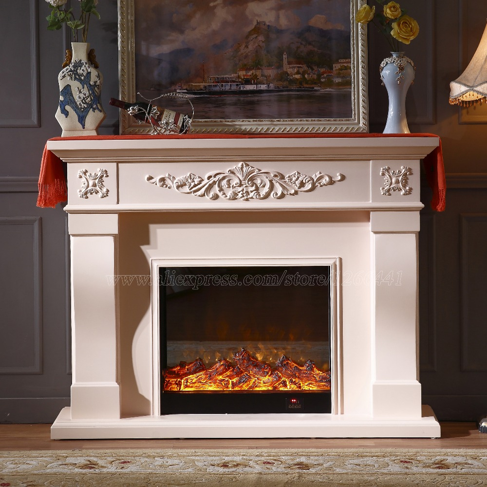 European living room decorating and warming fireplace wooden fireplace mantel plus electric insert LED optical artificial flame hearth