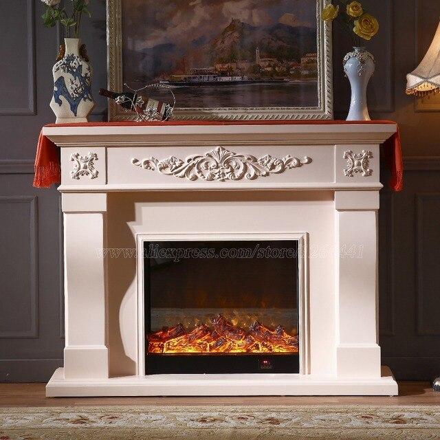 Europäische Wohnzimmer Dekorieren Erwärmung Kamin W150cm Holz Kaminsims  Plus Elektrische Einfügen LED Optische Künstliche Flamme