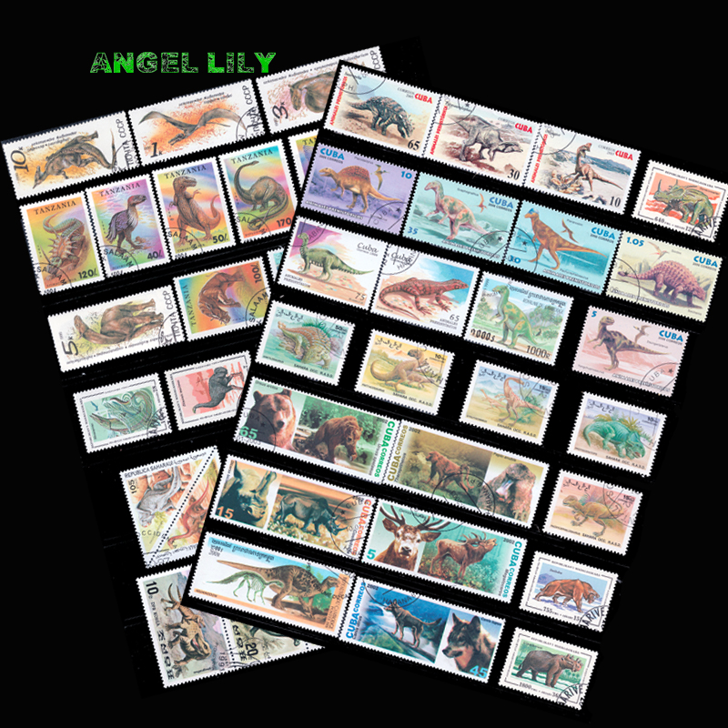 50 PCS/lot About Dinosour From The World Wide Used With Post Mark Postage Stamps