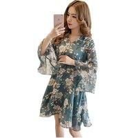 Vintage Floral Print Chiffon Dress New Summer Flare Sleeve V neck Mini Dress Princess Party Vestidos Women Casual Dress RE0647