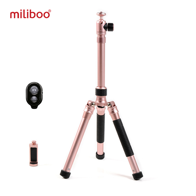 miliboo MZA Mini Phone Tripod Selfie Stick Foldable with Bluetooth Remote Control Phone Clipper Goillapod for Phone Camera SLR