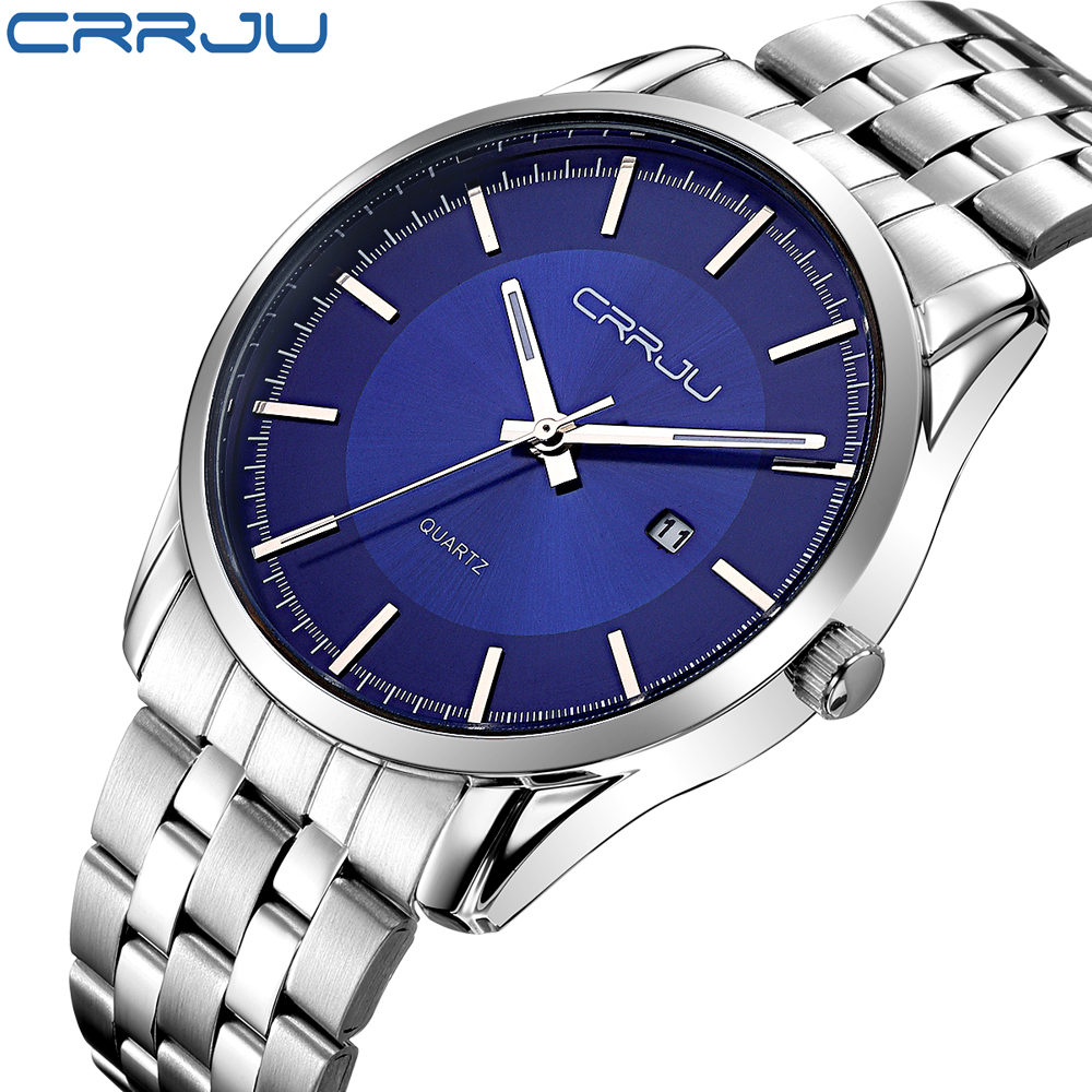 Reloj Hombre CRRJU Luxury Brand Simple Fashion Casual Business Watches Men Date Waterproof Quartz Mens Watch relogio masculino reloj hombre bosck brand men s watches men fashion casual sport quartz watch mens business wrist watches man clock montre homme
