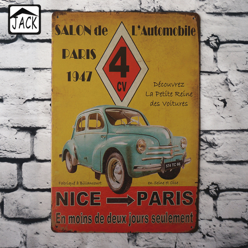 salon de lautomobile advertising 20x30cm vintage tin plate metal tin signs wall decor garage club barn parlor bedroom plaques - Bedroom Wall Plaques