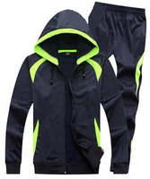 Winter Long Sleeve Football Training Suit Male Cardigan With Hood Soccer Football Sport Coat Pants Suit