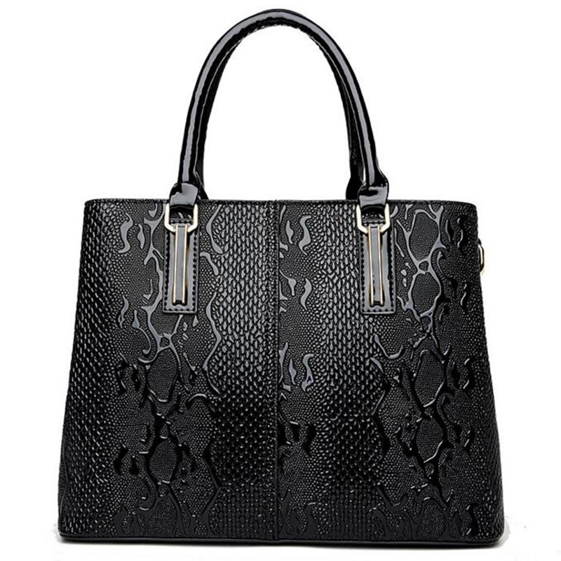 Women Leather Handbags Big Tote Bag Serpentine Embossing Bolsos Mujer Shoulder C