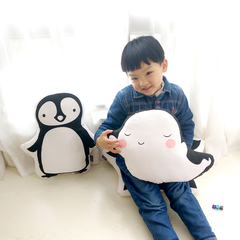 Hot Cute Penguin Whale Plush Toys Staffed Soft Cartoon Pillow Cushion for Kids Cotton Baby Room Decor Newborn Bed Doll