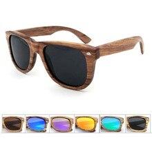 Valued Zebra Wooden Handmade Unisex Retro Polariod Sunglasses With Reflective Mirror Lens