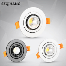 Dimmable COB led Downlight 7W 10W 15W 20W 360 Degree Rotation Round/Square Recessed LED Lamp With Driver AC85-265V
