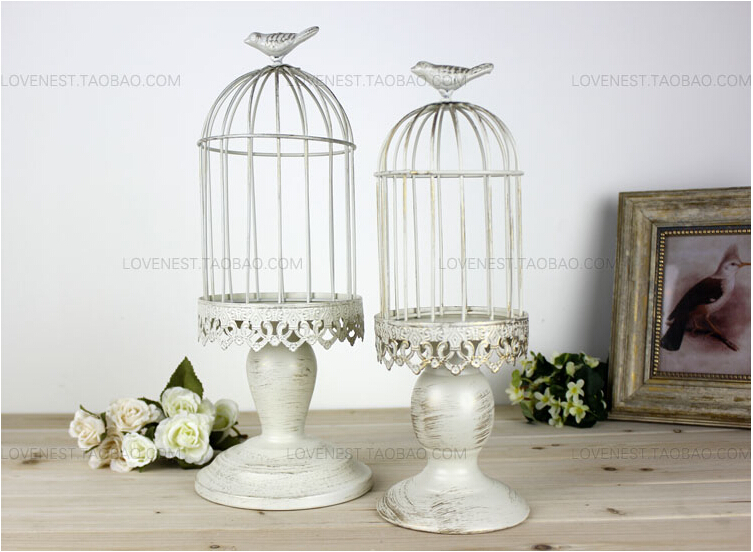 French Finishing Iron White Decorative Bird Cages Candlestick Weddings Bird  Cage Decoration Home Decoration Candle Holders ZT056 In Candle Holders From  Home ...