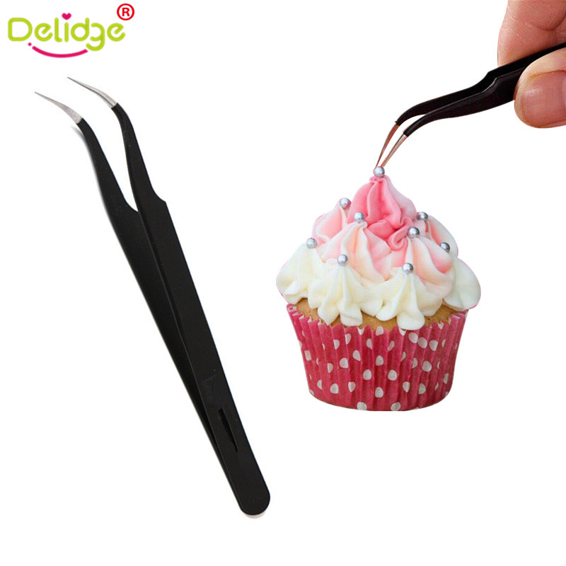 Delidge 1 pc Cake Decoration Tweezer Stainless Steel Anti-Static Tweezers Precision Hard Clip Sugar Beads Tweezers Tools(China)