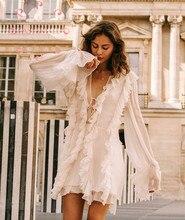 EASYSMALL ZIMMER Frauen kleid Mode Palace stil weiß Frische Rüschen lose party abend Hohe Taille kurzen holidayDresses