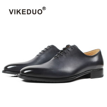 VIKEDUO Handmade Men's Oxford Shoes Solid Gray Wedding Office Formal Dress Shoe Male Plus Size Genuine Cow Leather Zapato Hombre vikeduo 2018 men s genuine leather dress shoes vintage classic monk strap shoe male plus size handmade wedding sapato masculino
