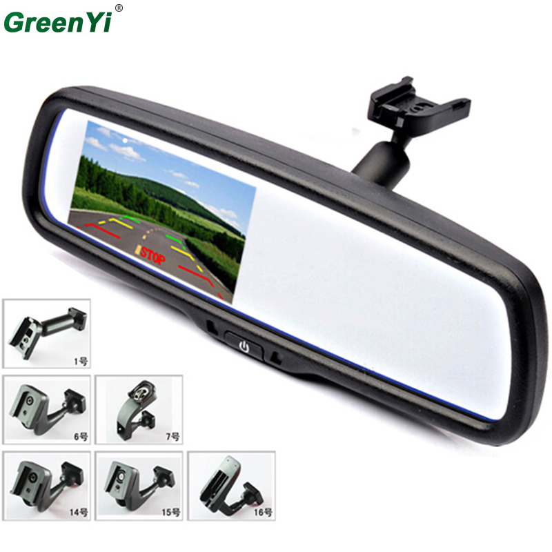 GreenYi 9199 10PCS 4.3 TFT LCD Car Windscreen Rearview Mirror Monitor with Special Bracket 2 Video Input For Parking Camera