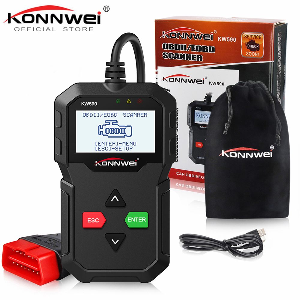 New KONNWEI KW590 OBD2 Code Reader Automotive Scanner Auto Repair Diagnostic Tool OBD II OBD 2 Scanner Better ELM327 in Russian