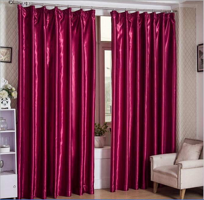 Customized Modern Immitation Silk Blackout Window Curtains Drapes For Bedroom Living Room
