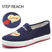 STEPREACH Brand Shoes Woman Flats Women Zapatos Mujer Canvas Student Embroidered Heart Shaped Slip On Adult