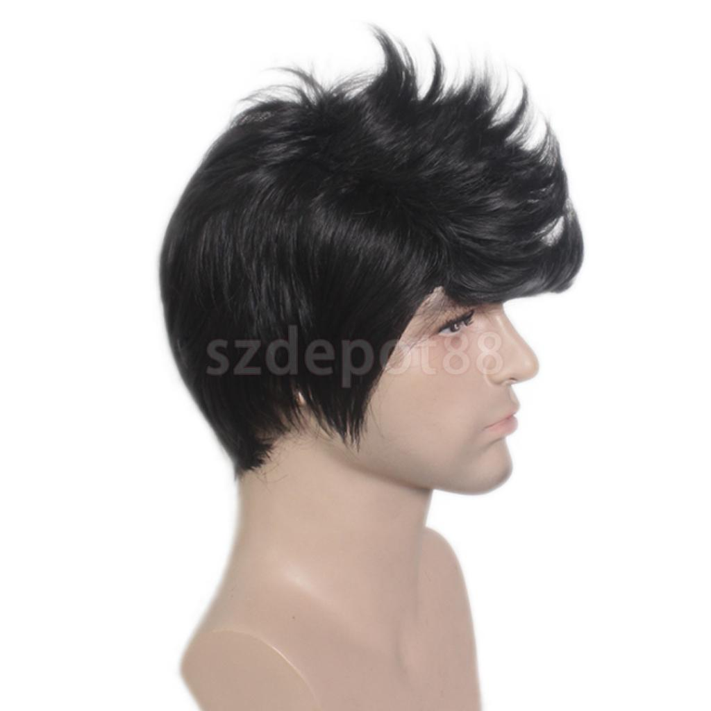 Fashion Mens Boys Handsome Black Short Quiff Hair Cosplay Party Costume Synthetic Hair Wig Full Wigs 20cm