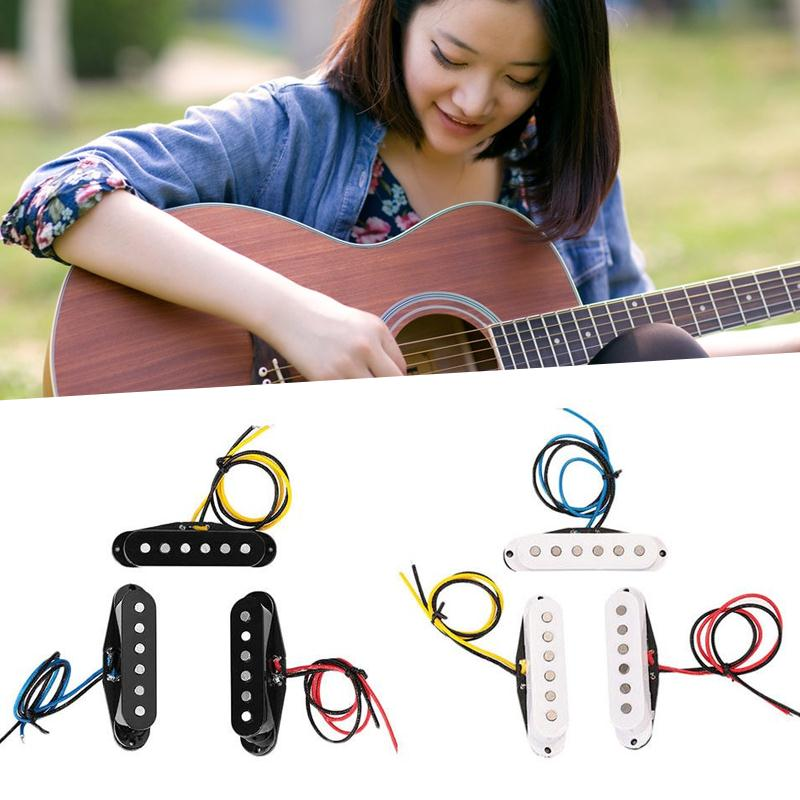 3Pcs Acoustic Guitar Pickup Neck +Middle+ Bridge Single Coil Pickup Set Alnico Guitar Electric Guitar Accessories single coil pickup cover 1 volume 2 tone knobs switch tip for strat guitar replacement ivory 10 set