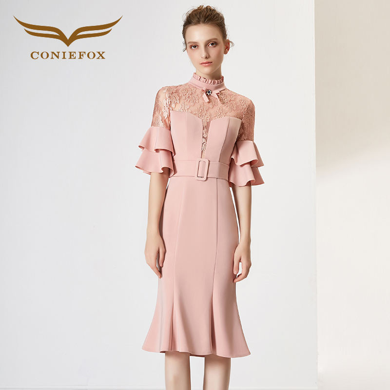 Coniefox 32012 Rosa encaje elegante princesa cumpleaños vestido de ...