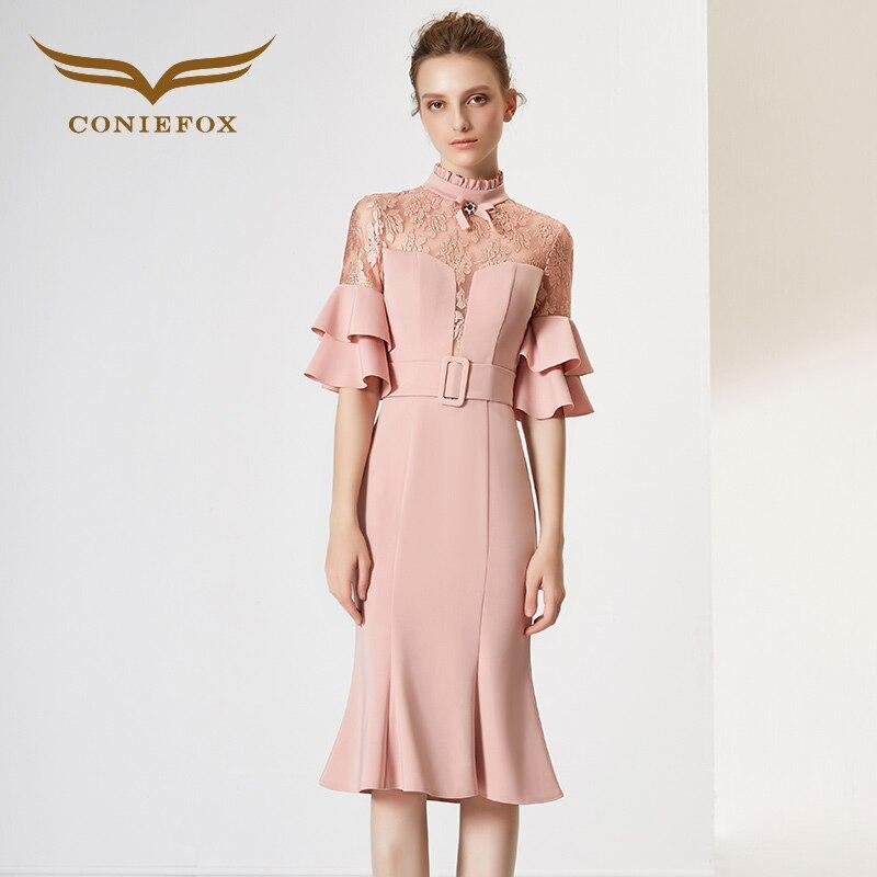 Coniefox 32012 pink lace elegant princess Birthday dress evening dress Party Prom  dresses gowns short vestido de noiva festa