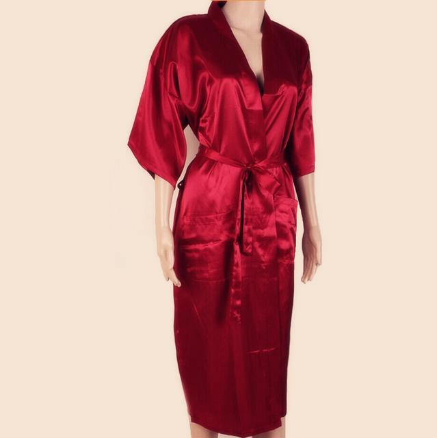 Venta caliente de los Hombres Rojos Chinos Albornoz Kimono Bath Vestido de Imitación de seda de Yukata Camisón Tamaño Sml XL XXL XXXL Envío Gratis