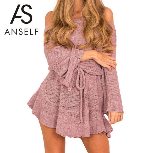 Anself Y Women Off Shoulder Knitted Dress Elegant Ruffle Tunic Sweater Autumn Long Sleeve Casual