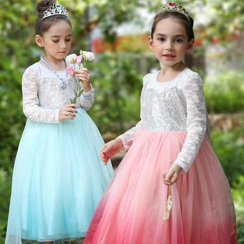 Autumn Queen Elsa Dresses Sequin Hollow Costumes Princess Anna Dress for Girls Party Vestidos Fantasia Long Sleeve Clothing