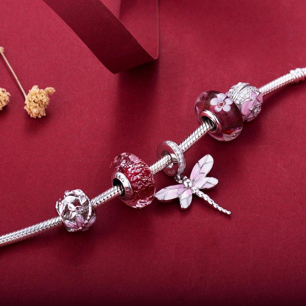 Image 5 - Perles de style libellule rose 925 perles en argent Sterling breloques idéal pour bracelet ne changent jamais de couleur DDBJ254Charmes   -