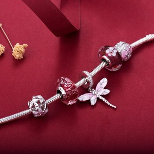 Image 5 - Pink dragonfly style beads  925 Sterling Silver beads charms fit Bracelets Never change color DDBJ018 F