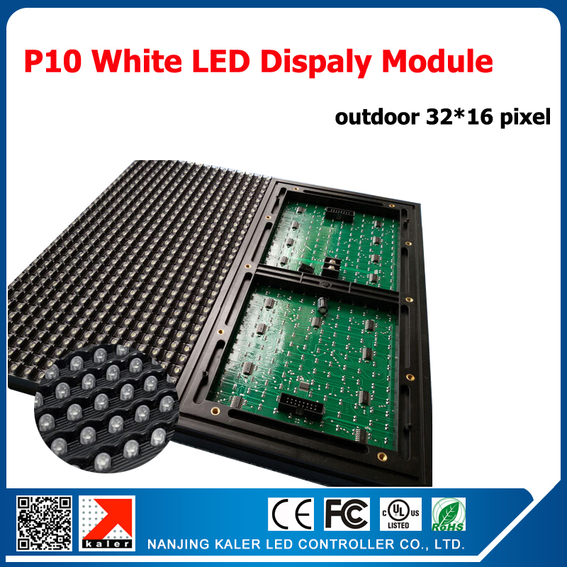 TEEHO 1mx2m Outdoor White Color Moving Message Led Display 36pcs White P10 Led Modules + 1 Control Card + 5pcs Power Supply