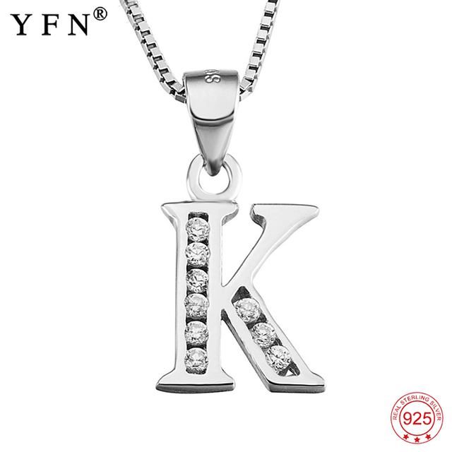 34535de218d20b Genuine 925 Sterling Silver Necklace Women Initial Pendant Crystal Letter K  Necklaces Pendants Inlaid with CZ