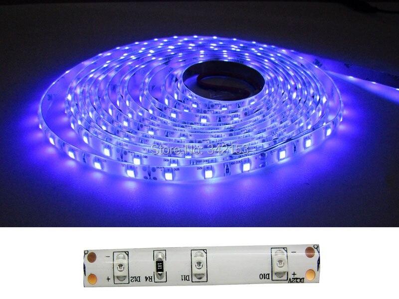 Free Shipping 2 Roll 5M Ultraviolet UV 395nm - 405nm Purple Waterproof 3528SMD 300LED Flexible 12V Led Strip Light