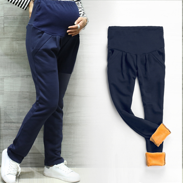 cfd9db5a9 Maternidad invierno polainas de terciopelo espesar embarazo ropa de algodón  pantalones de maternidad para las mujeres