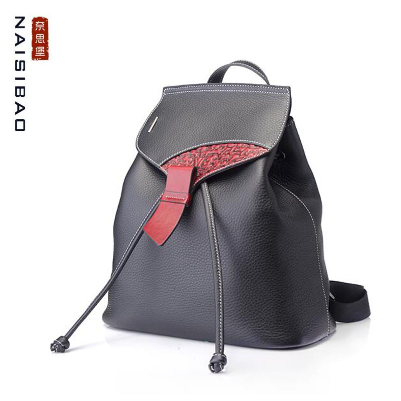 2018 new leather backpack First layer cowhide soft casual vintage drawstring backpack2018 new leather backpack First layer cowhide soft casual vintage drawstring backpack
