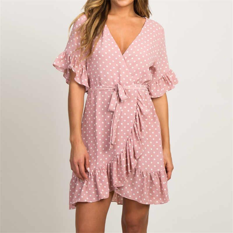 Mùa hè Voan 2019 Đời Phong Cách Boho Đi Biển Thời Trang Nữ Tay Ngắn Cổ Chữ V Chấm bi Chữ A DỰ TIỆC Sundress Vestidos платье