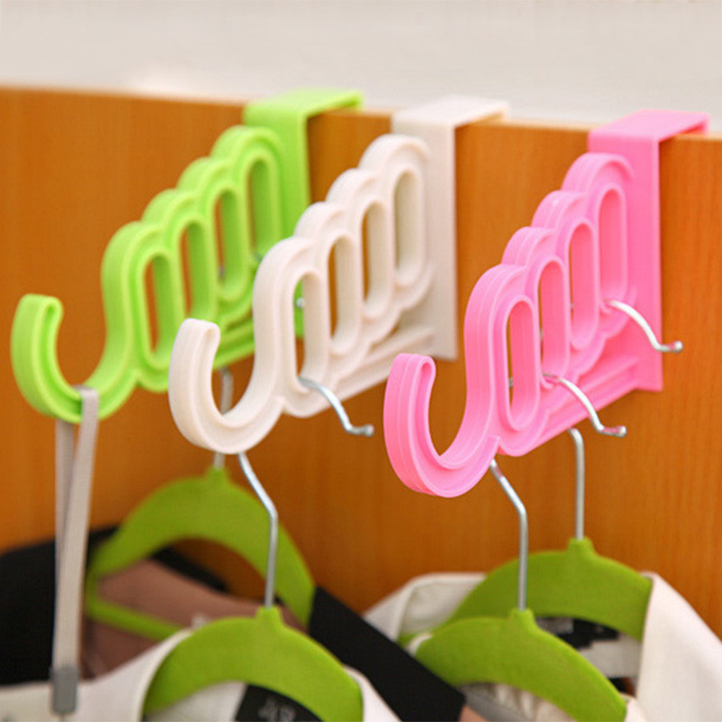Multi-Function Foldable Clothes Hanger Drying Rack Storage 5 Hole Suit Bathroom Door Hanger Storage Rack