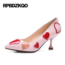 Pointed Toe Special Heart Pumps Black Runway Sweet Pink Thin Luxury Brand Women Shoes 2017 Strange Patent Leather Size 33 Medium