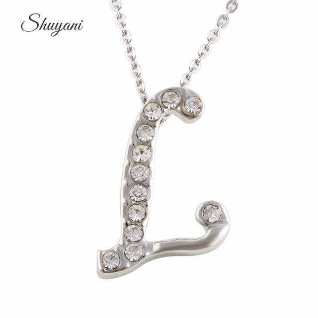 New design silver plated rhinestone l initial necklace women letter new design silver plated rhinestone l initial necklace women letter pendant jewelry aloadofball Images