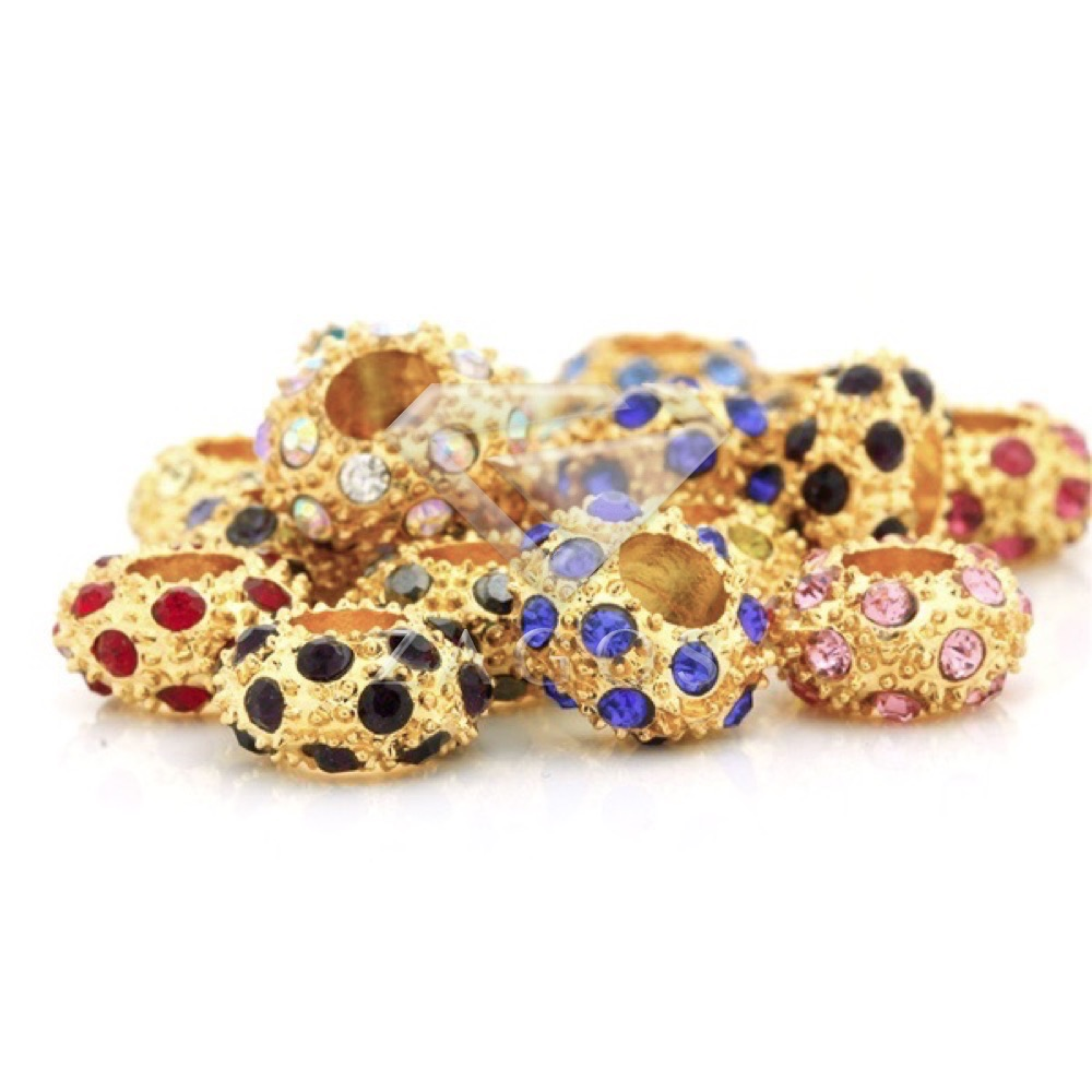 5pcs Assorted On Gold Crystal 12x12mm Rondelle European Glass Rhinestone Beads DIY Jewellery Making For Bracelet Necklace CR0353