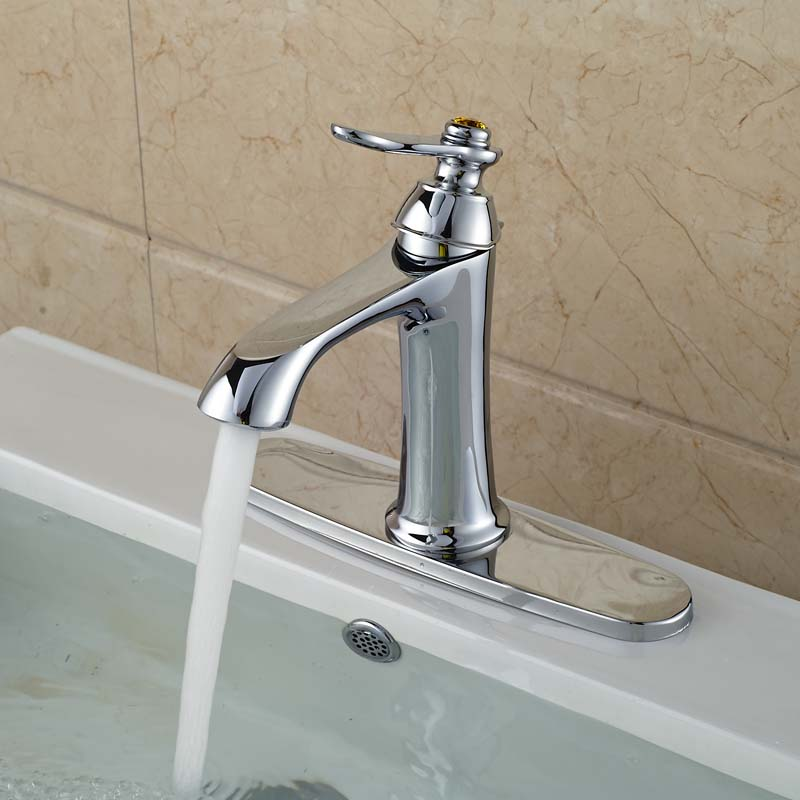 Polished Chrome Single Lever Basin Vessel Sink Mixer Taps Deck Mount One Hole with 8 Hole