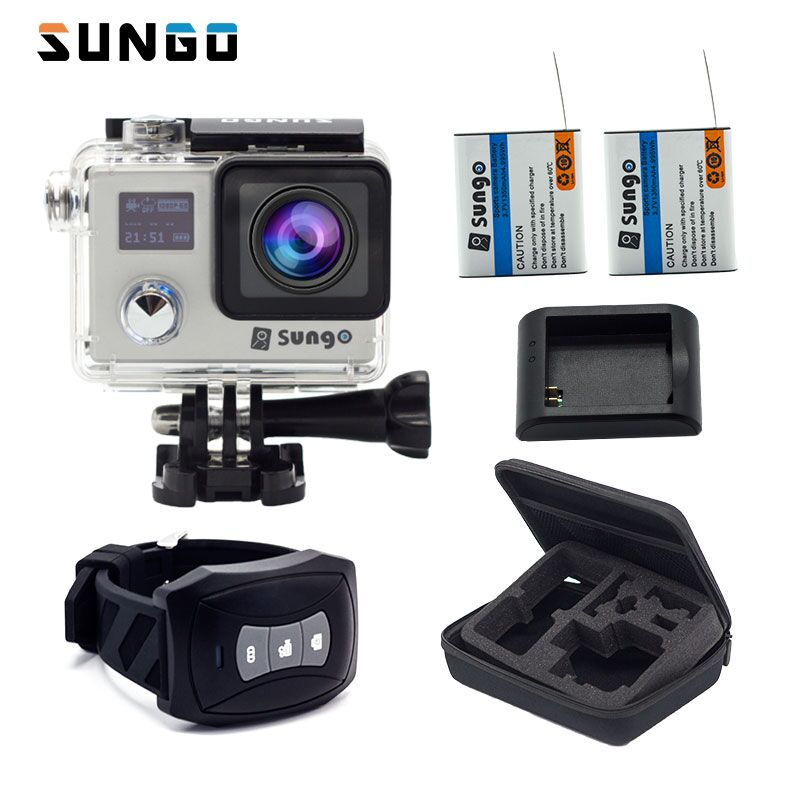 SUNGO Action Camera 4k waterproof Ultra HD 1080P /30fps Remote WiFi 2.0 170D underwater Sport cam Helmet  Novatek camcorder action camera ultra hd 4 k 30fps wifi sport cameres original eken h8 h8r 2 0 170d dual len underwater waterproof helmet cam