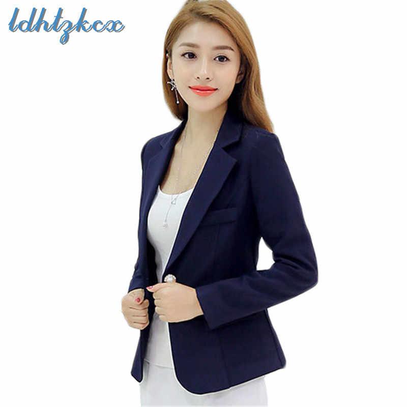 ブレザー女性黒プラスサイズ長袖スーツ 2018 秋冬新韓国事務所の女性スリムファッションワンボタンブレザー LD656