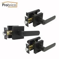 Probrico Black Entry Door Locks Entrance Lock Door Levers Interior and Exterior Passage/Privacy Lock Keyless